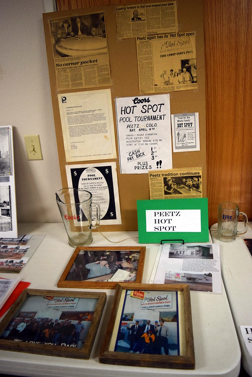 ". Photographs and memorabilia from Peetz Hot Spot was on display at Peetz Sake Days ""Still on the Hill\"" Centennial Celebration Saturday, Sept. 30, 2017."