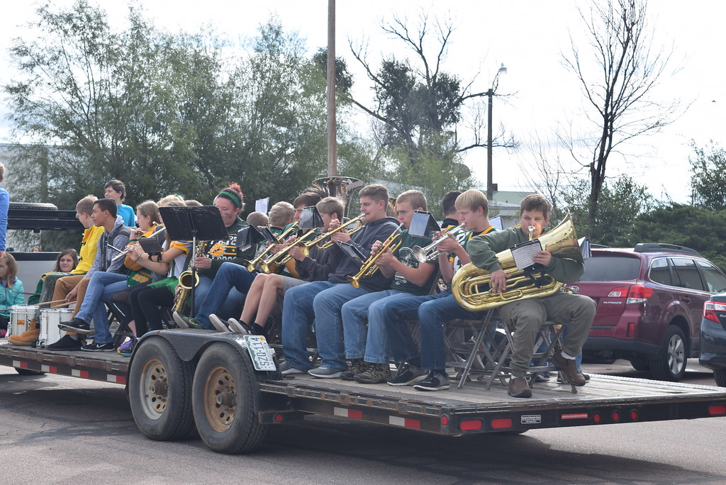 ". The Peetz School band performs, under the direction of Jamie Wheelock, during the Peetz Sake Days ""Still on the Hill\"" Centennial Parade Saturday, Sept. 30, 2017."