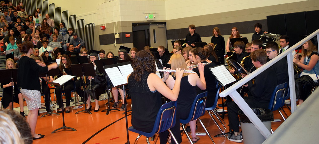 """. The Sterling High School Band performs \""""Pirates of the Caribbean,\"""" under the direction of Risa Lamorie, at the school\'s commencement exercises Saturday, May 27, 2017."""