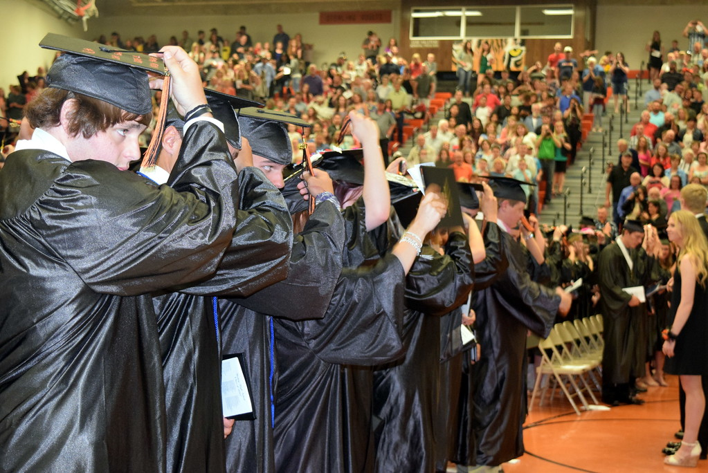. Graduates flip their tassels at the end of Sterling High School\'s commencement exercises Saturday, May 27, 2017.