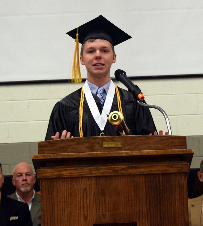 . Logan Kiefer, class president gives remarks at Sterling High Schools commencement exercises Saturday, May 27, 2017.