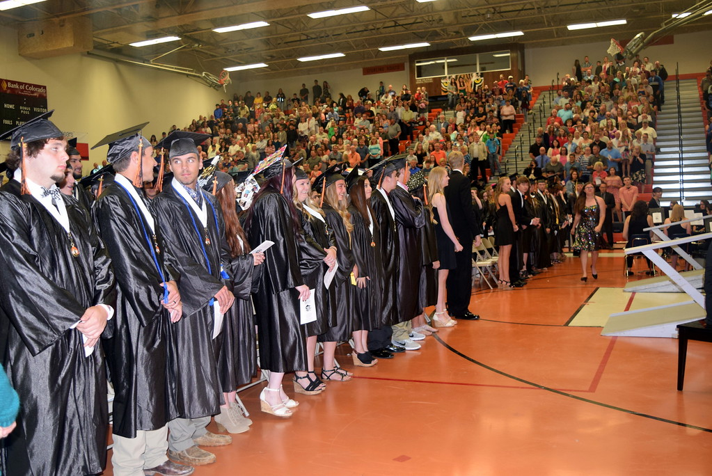 . Sterling High School\'s class of 2017 waits for the ceremony to start at the school\'s commencement exercises Saturday, May 27, 2017. The  school graduated 109 students.