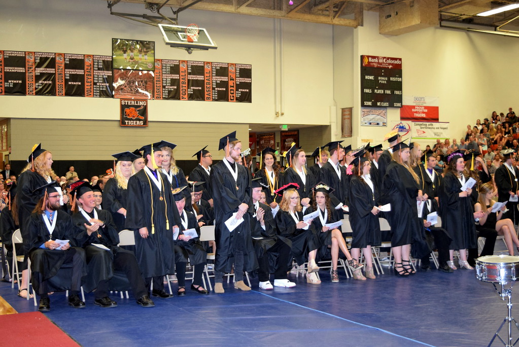 . Scholarship recipients stand to be recognized during Sterling High School\'s commencement exercises Saturday, May 26, 2018. The class of 2018 has earned over $1 million in scholarships.