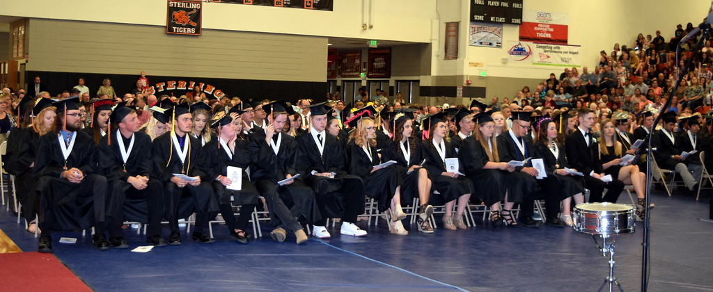 . The Sterling High School class of 2018 listens to a speaker during commencement exercises Saturday, May 26, 2018. There are 111 graduates this year.