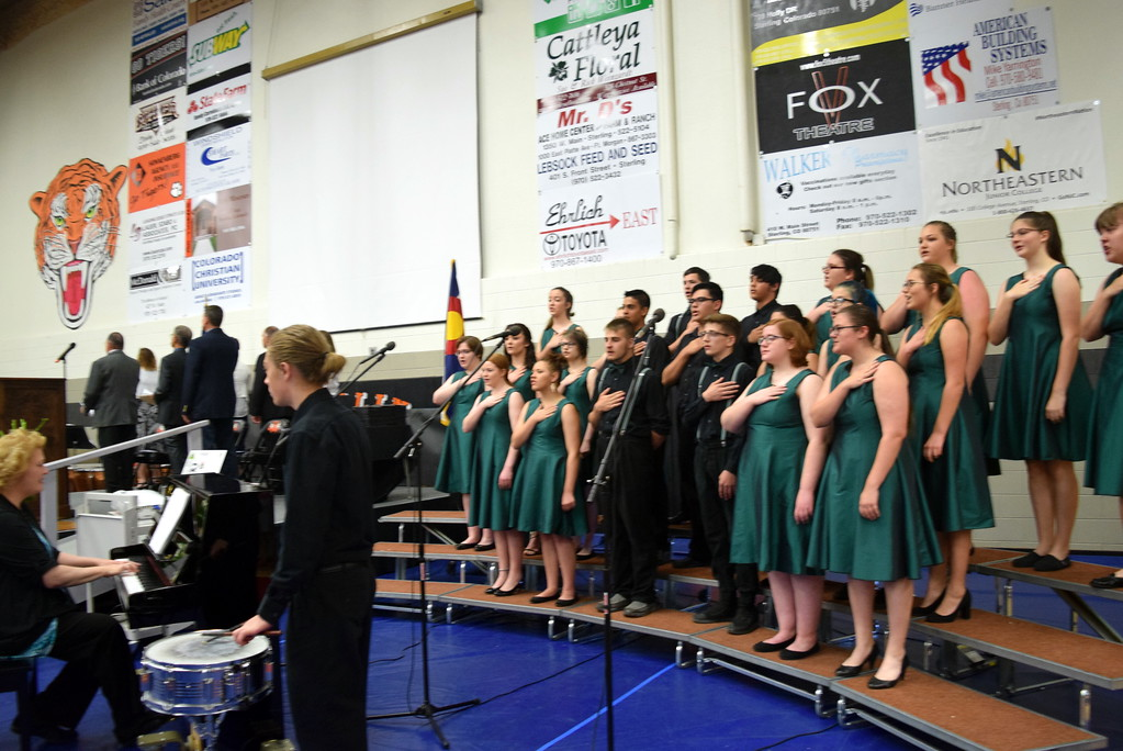 """. The Sterling High School Jazz Choir performs the \""""Star Spangled Banner\"""" at commencement exercises Saturday, May 26, 2018."""