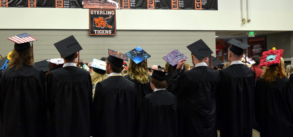 . Sterling High School graduates had their caps decorated in a variety of different themes at commencement exercises Saturday, May 26, 2018.