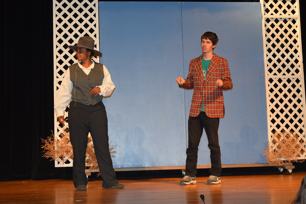 """. Charlie Davenport (Julia Ssessanga), manager of the Wild West Show, and Foster Wilson (Michael Davenport), hotel owner, have a conversation in a scene from Sterling High School\'s upcoming production of \""""Annie Get Your Gun.\"""""""