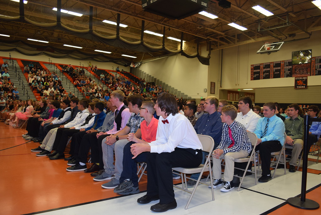 . The class of 2021 listens to opening remarks at Sterling Middle School\'s annual Continuation Night Tuesday, May 23, 2017. There are 151 eighth graders continuing on to Sterling High School.