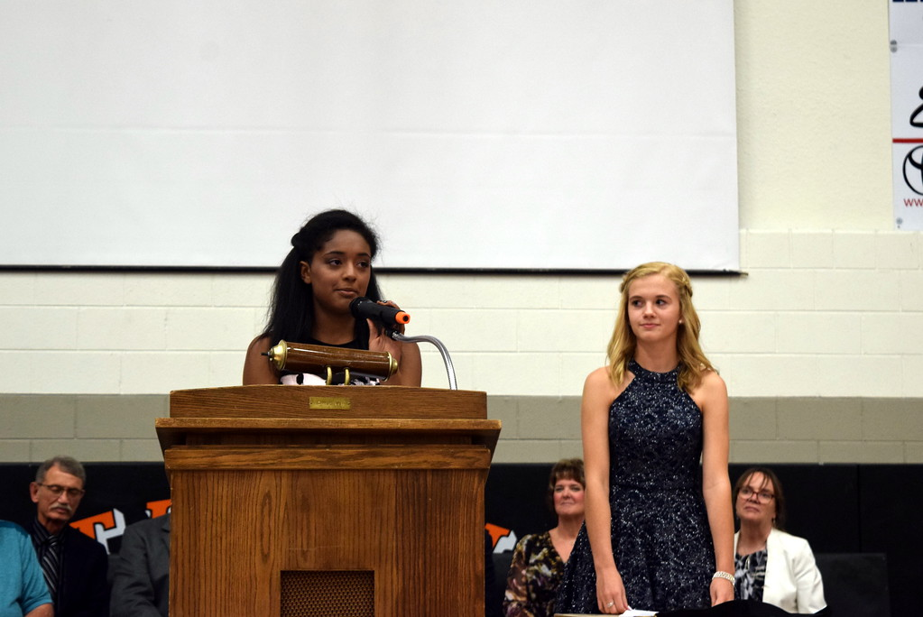 . Sterling Middle School Co-Student Council Presidents Jaden Newson, left, and Hailey Fehringer give welcoming remarks at the school\'s Continuation Night Tuesday, May 23, 2017.