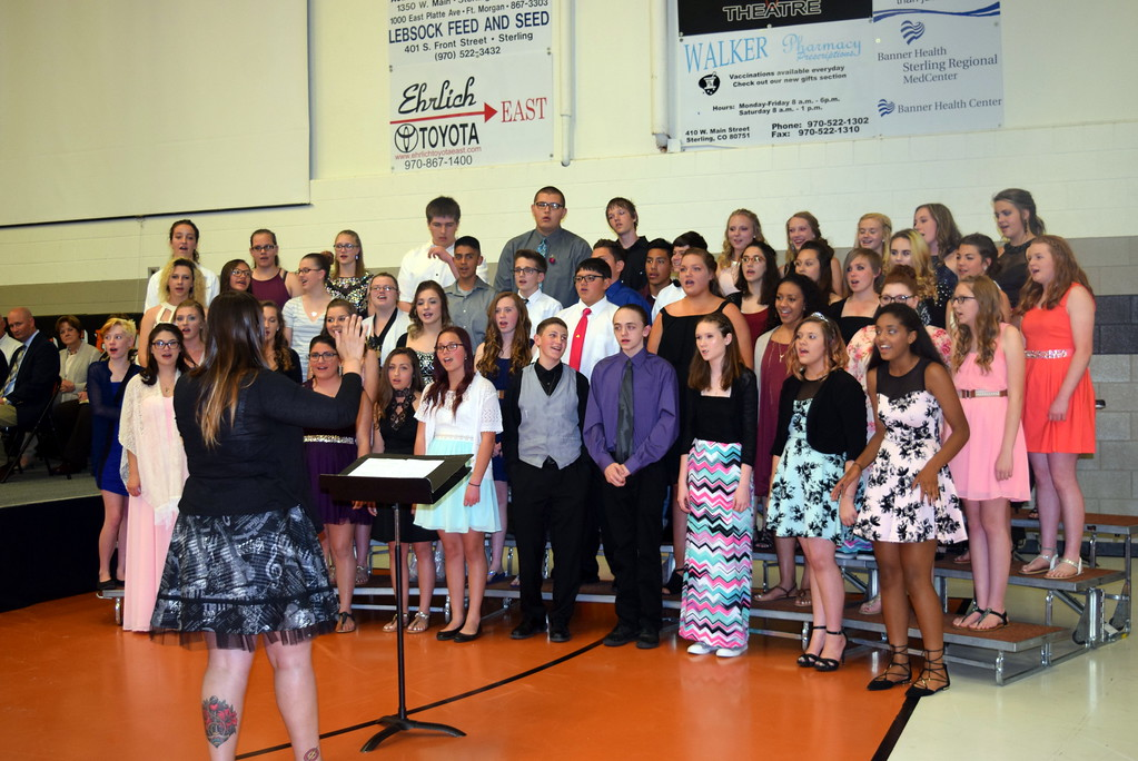 ". The Sterling Middle School eighth grade choir performs ""Shine Your Way,\"" under the direction of Michelle Vance, at the school\'s Continuation Night Tuesday, May 23, 2017."
