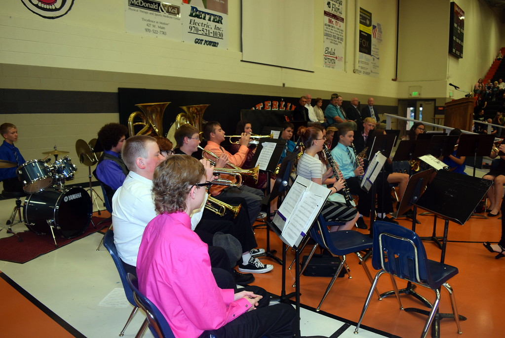 ". The eighth grade band performs ""Best Day of My Life,\"" under the direction of Risa Lamorie, during Sterling Middle School\'s Continuation Night Tuesday, May 23, 2017."