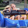 Best friends Kaitlyn Graebert, 9, and Katie DeVore, 10, both of Sterling Heights, enjoy the Sizzler ride at Sterlingfest.  Ray Skowronek--The Macomb Daily