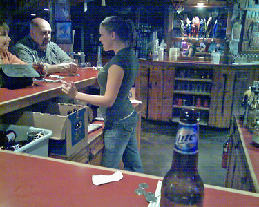 My Beer and my Bartender. Rustys is a back woods Bar alright.