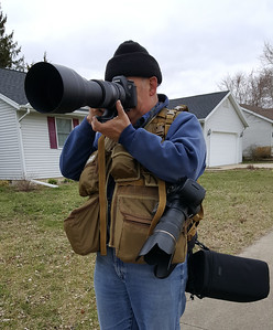 Steve photographing birds