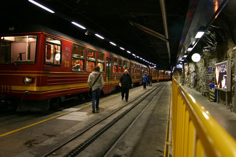The Jungfraubahn at Jungfraujoch Bahnhof