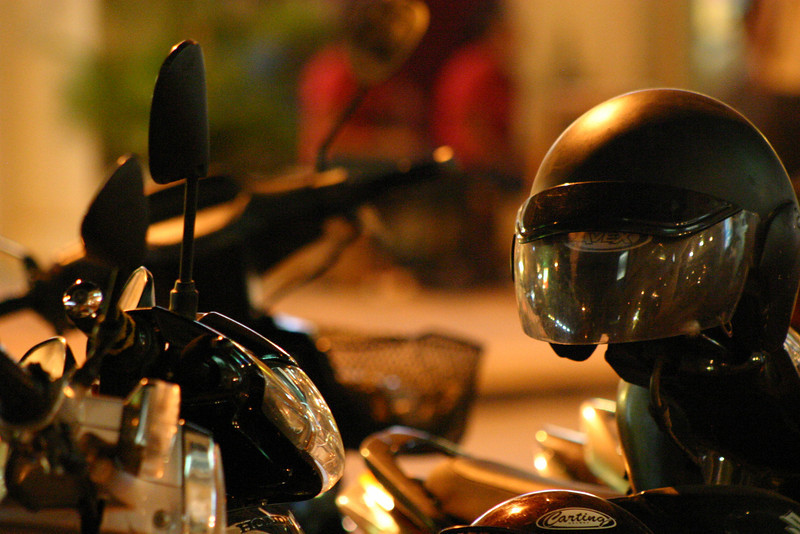 A motorcycle and helmet