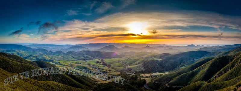 This is a panorama taken from the top of Cuesta Grade. Dec 14th 2009.  Nearly killed my Saab to get here.