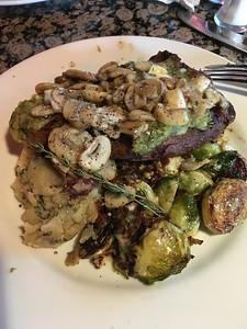 Note to self: 1.  14oz of steak is WAY TOO MUCH STEAK! 2.  When you ask to substitute for bacon blue cheese Brussels sprouts, they don't substitute the mashed potatoes but the healthy steamed broccoli.  Oops.