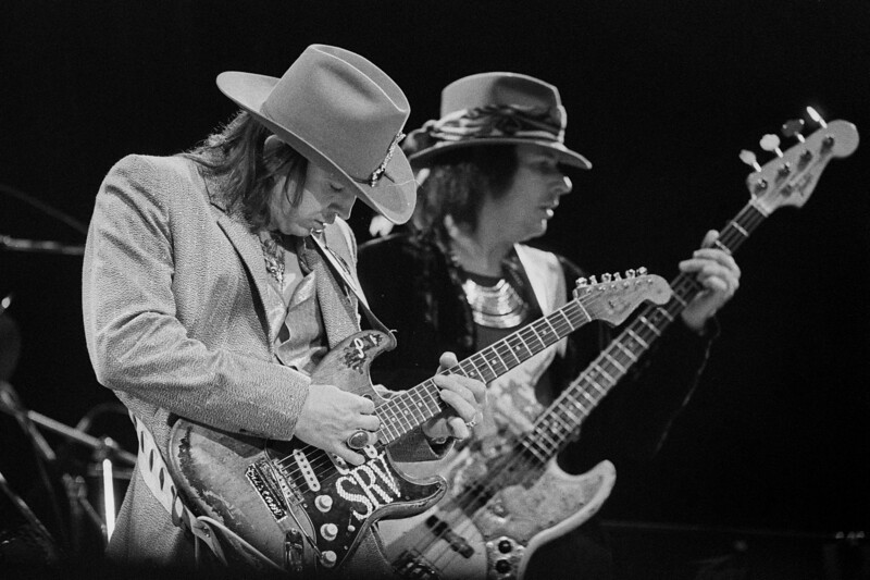 Stevie Ray Vaughan and bassist Tommy Shannon perform at the Greek Theater in Berkeley on October 11, 1985.
