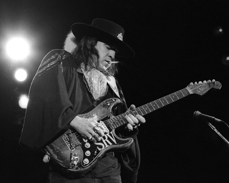 CONCORD, CA-AUGUST 3: Stevie Ray Vaughan performs at the Concord Pavilion in Concord, CA on August 3, 1986. (Photo by Clayton Call/Redferns)