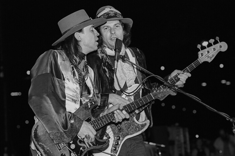 Stevie Ray Vaughan and Double Trouble with bassist Tommy Shannon perform in San Francisco on October 9, 1985.