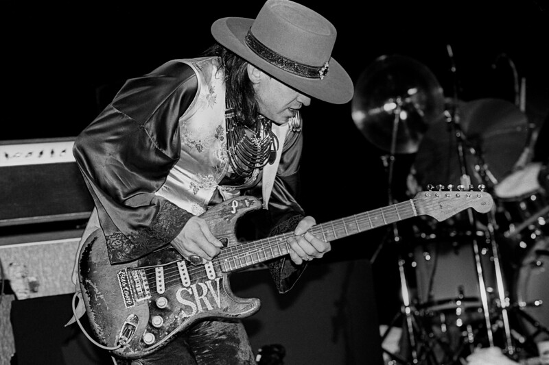 Stevie Ray Vaughan performs a private concert for the U.S. Navy in San Francisco as part of Fleet Week celebrations on October 9, 1985.