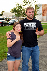 Winners of the first Stewardson Independence Day Celebration hot dog eating contests on Sunday evening were Second Place Andrea Milby, left, and First Place Winner Zach Weber, right. Charles Mills photo