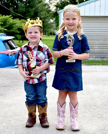 Little Mister and Little Miss Stewardson were crowned Sunday evening at the Stewardson Independence Day Celebration. Pictured is Little Mr. Stewardson 3-year-old Jackson Tabbert, left and Little Miss Stewardson Ava Schultz-Lowrance, right. Charles Mills photo
