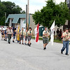 Members of the Strasburg Boy Scout Troop #145 led the Stewardson Independence Day Red, White and Blue parade Sunday afternoon. Charles Mills photo