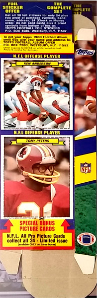 1983 Topps Sticker Box Cards  Tony Peters