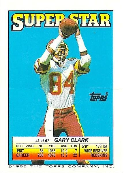 Gary Clark 1988 Topps Stickers Backside