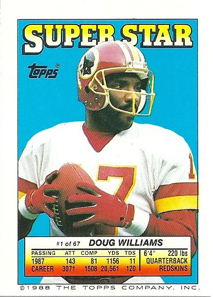 Doug Williams 1988 Topps Stickers Backside