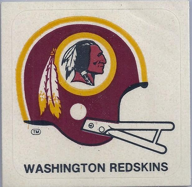 1978 Kellogg's Redskins Sticker White Facemask Variation