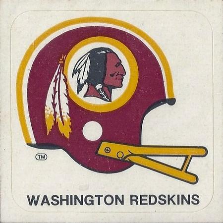 1978 Kellogg's Redskins Sticker Yellow Facemask Variation