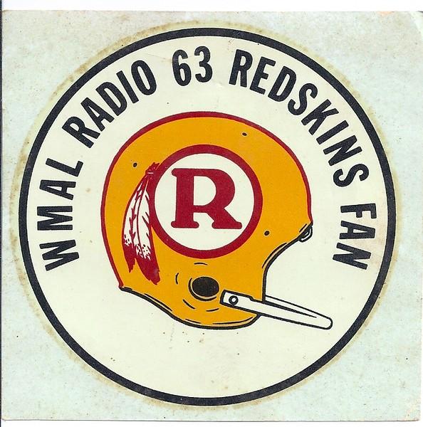 1970 WMAL Redskins Helmet Decal