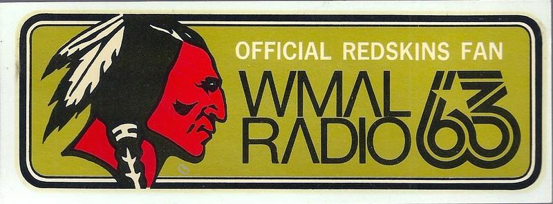 1970s WMAL Redskins Sticker