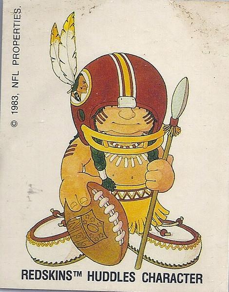 1983 NFL Properties Redskins Huddles Sticker