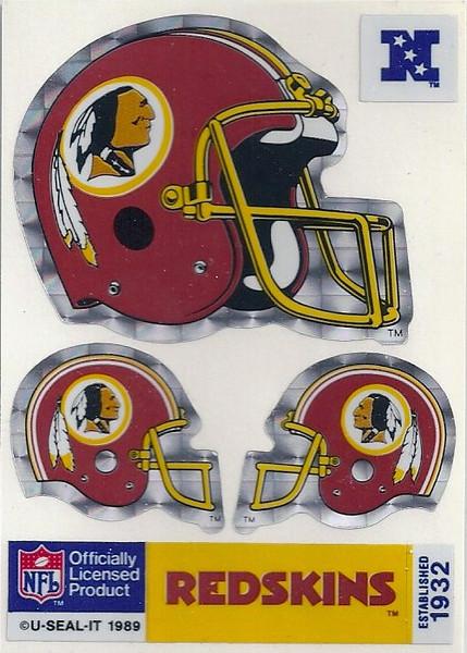 1989 U-Seal-It Redskins Helmet Stickers