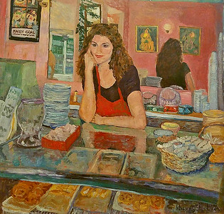 FRENCH PASTRY SHOPPE - 48X48/ACRYLIC ON BOARD - STUDIO