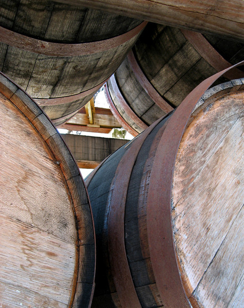 Stacked Whiskey Barrels - In downtown Lynchburg,TN.