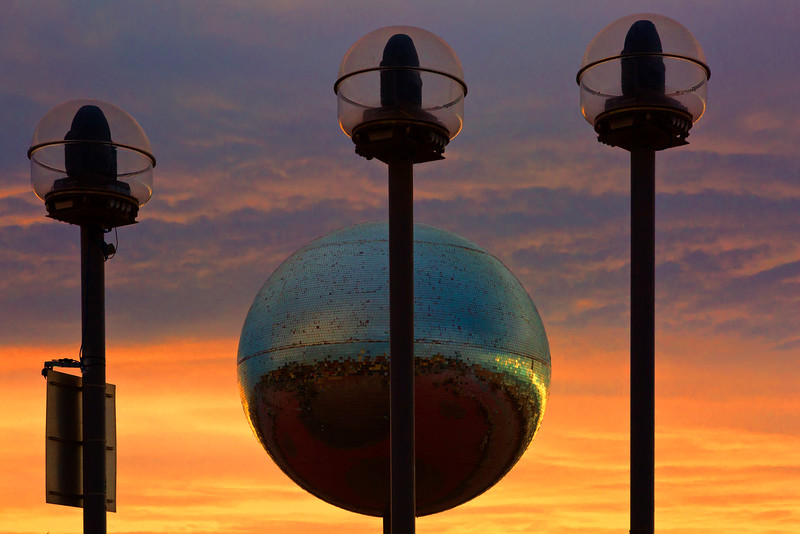 Blackpool Mirror Ball At Sunset