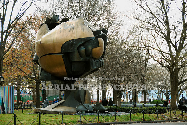 """The Sphere"" Stood in front of the World Trade Center for more than 30 years. It was meant to symbolize world peace through world trade. Pulled from the rubble of 9/11 (With an airline seat inside) it now stands in Battery Park as a memorial."