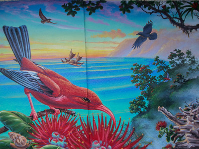 'Alalā Project Mural, painted by Patrick Ching and people of Hilo, on the Kress Building in downtown Hilo, Hawai'i
