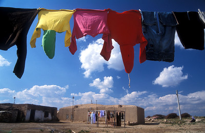 Laundry hanged over the mud houses of Haran, Turkey.
