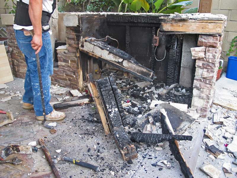 Fortunately the counter top were tile, which stopped the fire from going up and burning down the gazebo.