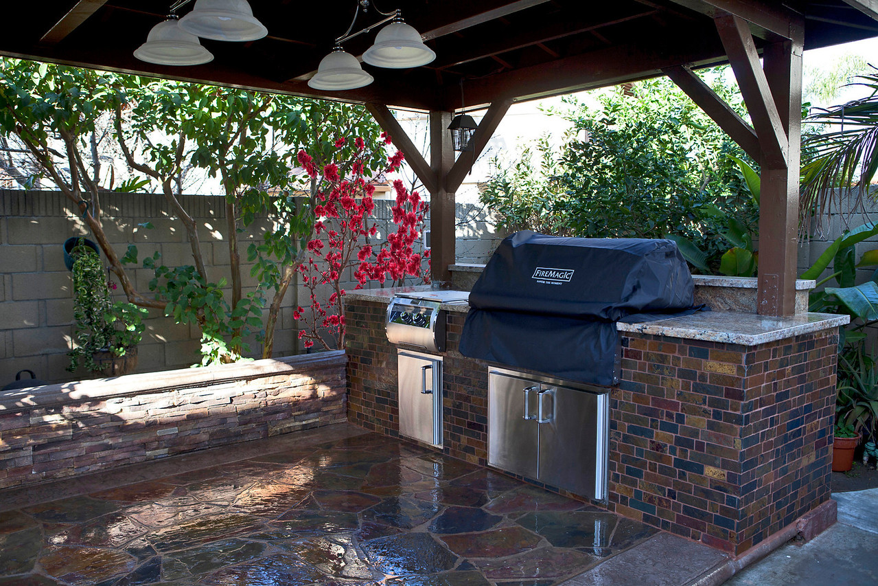 """We installed 2 new Hampton Bay Hanging lamps and new light switch and outlet.<br /> Fire Magic Grill Cover For Echelon E790  (3651B) -- <br /> <a href=""""http://www.bbqguys.com/item_name_Fire-Magic-Grill-Cover-For-Echelon-E790-Or-Aurora-A790-Built-In-Gas-Grills_item_6729.html"""">http://www.bbqguys.com/item_name_Fire-Magic-Grill-Cover-For-Echelon-E790-Or-Aurora-A790-Built-In-Gas-Grills_item_6729.html</a>"""