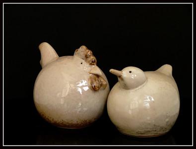 Coppia gallina-pulcino in ceramica - Belgio