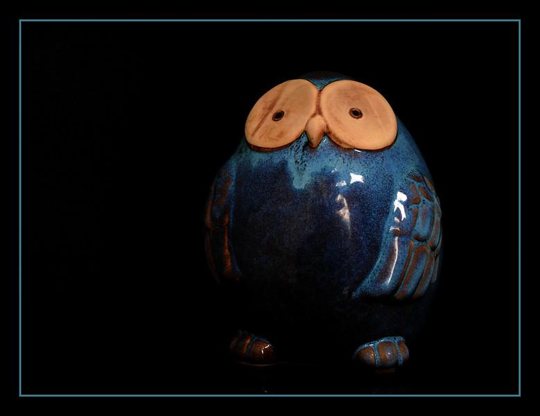Gufo salvadanaio in terracotta smaltata - Belgio