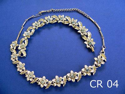 CORO parure girocollo regolabile e braccialetto - marchia presente sulla chiusura del braccialetto metallo colore argento e strass color acquamarina