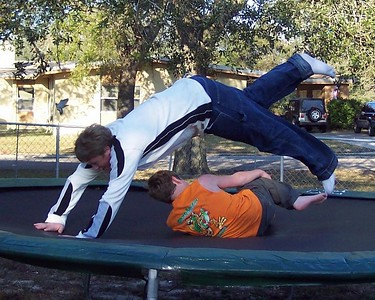 Dane and Lars having a bit of fun on the trampoline